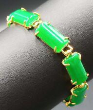 """Natural Emerald Green Jade 18KGP Luck Link Bracelet 7.5"""""""
