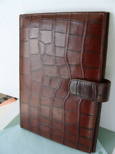 DOONEY & BOURKE Brown Leather-Croc Planner Day Timer/ Agenda Portfolio Organizer