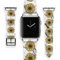 Sunflower Apple Watch Strap Marbled Watch Band Gift For Her Leather Bracelet