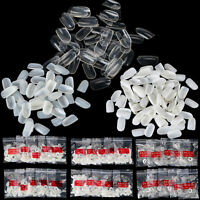 500/1000Pcs White Clear Natural Oval Head Round Full Cover False Nails Art Tips