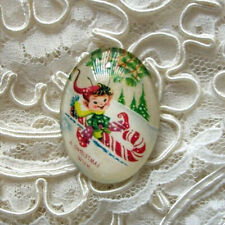 Retro Christmas Elf 30X40mm Glitter Unset Handmade Glass Art Bubble Cameo Cab