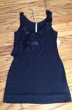 NWT S Small Rachel Roy Womens Long Tank Top Tunic Shirt Satin Ruffls Mini Dress