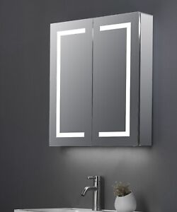 MAX Double door led mirrored led cabinet with shaver point, usb charger, demist