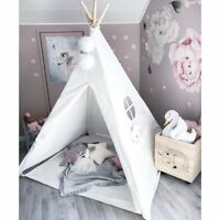 Kids Teepee Play Tent 100% Cotton Canvas Tipi Playhouse Indoor Room Toys For Kid