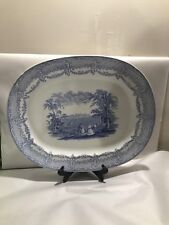 Antique Ridgeways Humphreys Clock Blue Transferware Large Platter Old Mark 1830s