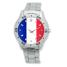 La France French Flag Watch Stainless Steel Bracelet Strap Men's Dress Watch
