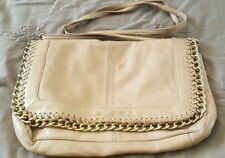 LEONA EDMISTON Nude Beige Leather Envelope Clutch Bag Handbag Cross Body    2