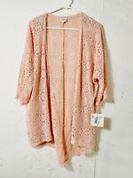 Lularoe M Medium Lindsay Kimono Light Pink Lace Floral Cover Up Cardigan