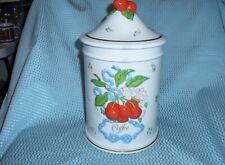 """Franklin Mint """"Le Cordon Bleu"""" Porcelain Coffee Canister W/Cherries Decor"""
