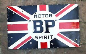 "VINTAGE MOTOR BP SPIRIT 20 x12"" PORCELAIN ENAMEL SIGN, STORE AD GAS PUMP OIL"