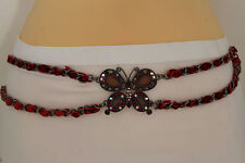 Women Edgy Belt Hip Waist Metal Chain Big Butterfly Charm Red Beads S M