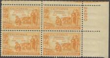Scott # 997 - Us Plate Block Of 4 - California Statehood - Mnh -1950