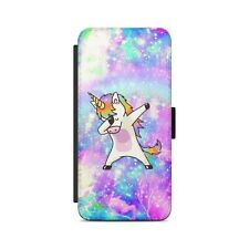 Dab Rainbow Unicorn Leather Flip Wallet Phone Case