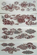 Various Maroon Design & SILVER Glitter Temporary Body Tattoos x 4 Sheets *OFFER*