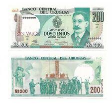 URUGUAY SPECIMEN SIN VALOR NOTE 200 NUEVOS PESOS 1986 P 66s UNC