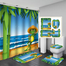 Cartoon Sea Frog Shower Curtain Bath Mat Toilet Cover Rug Bathroom Decor