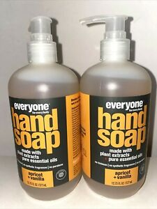 Everyone for Everybody EO Hand Soap Apricot + Vanilla 12.75oz Lot Of 2 Pump