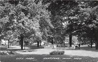D21/ Hartford Michigan Mi Real Photo RPPC Postcard c1950 City Park
