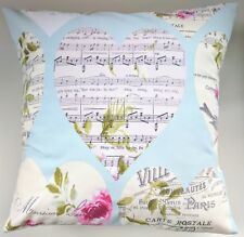 Hearts and Music Musical Score Notes Cushion Cover 16""