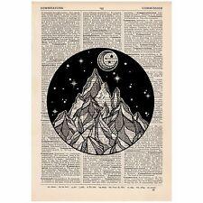 Moon & Mountain Circle Dictionary Print OOAK, Mystic, Eastern, Art,Unique,Gift,