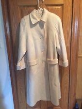 Wool Coat Women's Cream White Jacket Full Length EUC PLC 100% Wool Trench