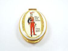 Vintage Crummles & Co. England Enamel Trinket Box, Officer 12th Lancers