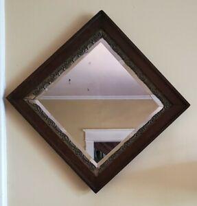Vintage tiger oak beveled mirror gold trim small