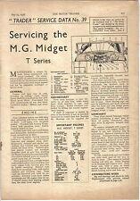 MG Midget T Series Motor Trader Service Data No. 39 1938