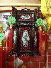 CHINESE XL 36cm BLACK RED DRAGON PALACE LANTERN LIGHT NEW YEAR JAPANESE PARTY a1