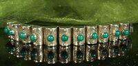 "1940s STERLING MEXICO Bracelet 6-5/8"" CHRYSOPRASE Gems 56.7g Barrel Panels FAB!"