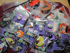 25 Assorted Fabric Plastic Halloween Necklaces Rings Pins Ghost Spider Etc