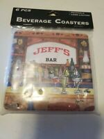 "NEW VINTAGE BEVERAGE COASTERS ""Jeff's BAR"" SET OF  6 PERSONALIZED COASTERS"