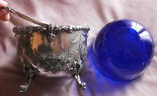 """Coupe à anse métal argenté """" Britannia """" & verrine cristal bleu - ATKIN BROTHERS"""