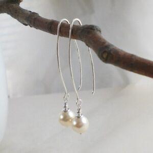 Lange Design Ohrringe MUSCHELKERN weiß 925 Silber Perlenohrringe cremeweiß g823