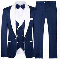 Royal Blue Men's Wedding Suits Groomsmen White Shawl Lapel Groom Prom Tuxedos