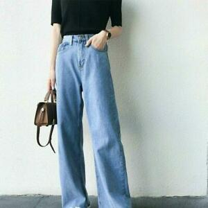 Women Denim Jeans Pants Trousers Loose Frayed Wide Leg High Waist Vintage Casual