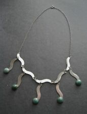 Vintage Hand Wrought Artisan Sterling and Eliat Stone Modernist Necklace Israel