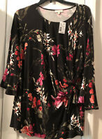 STATUS by Chenault SZ 3X Womens Black Pink Floral Shirt Tunic Top Front Side Tie