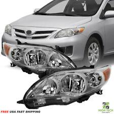 2011 2012 2013 Toyota Corolla Front Headlights Chrome Housing Clear Lens PR