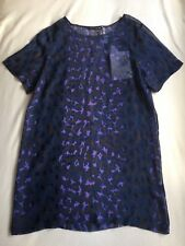 New Christopher Kane Leopard Print Silk Georgette Sheer T dress 12UK