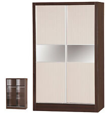 Créame Gloss & Dark Walnut | 2 Door Sliding Wardrobe Mirrored | Bedroom Unit