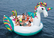 Giant Unicorn Party Island Pool Float Inflatable 6 Person 19x13ft