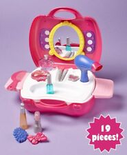 19pc BEAUTY HAIR SALON CARRY ALONG TRAVEL CASE SET Pretend Play Toy Lipstick