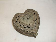 Vintage Ornate Heart Shaped Pewter Metal Jewelry Ring Locking Trinket Box