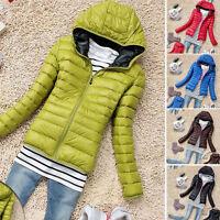 Women Hooded Short Warm Soft Padded Parka Jacket Winter Outwear Casual Tops 520