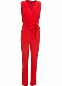 Jumpsuit mit V-Ausschnitt Gr. 40 Rot Damen-Overall Hosen-Anzug Onesie Neu*