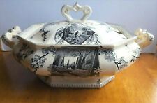 Antique Clementson Bros. Aesthetic Transferware Tureen Springtime