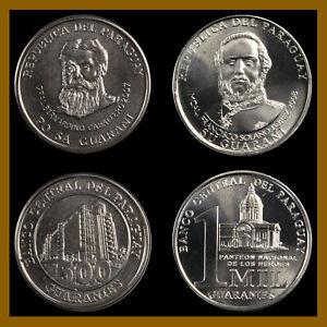 Paraguay 500 1000 (1,000) Guaranies (2 Coins Set), 2007/2008 Unc