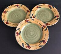 "Pier 1 Imports Elizabeth Salad Plates 8"" Across Yellow Green Red Autumn Lot of 3"