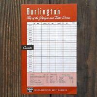 2 Vintage Original 1940s CB&Q BURLINGTON RAILROAD Train Canasta Score Game Sheet